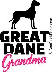 Great Dane Grandma silhouette black