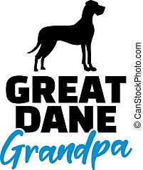 Great Dane Grandpa silhouette black