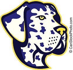 great-dane-head-MASCOT - Mascot icon illustration of head of...