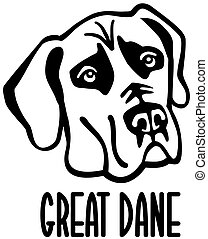 Great Dane head with name