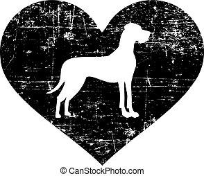 Great Dane heart - Great Dane silhouette in black heart