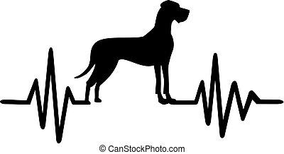 Great Dane heartbeat - Heartbeat pulse line with Great Dane...