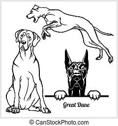 Great Dane - vector illustration for t-shirt, logo and...