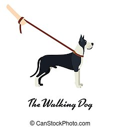 Great Dane with a leash - on white background. Vector illustration