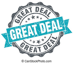 Great deal blue grunge retro style isolated seal