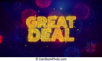 Great Deal Greeting Text Sparkle Particles on Colored...