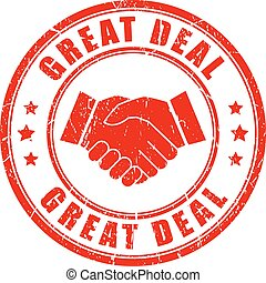 Great deal handshake rubber stamp