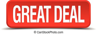 great deal red 3d square button on white background