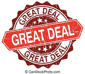 great deal red round grunge stamp on white