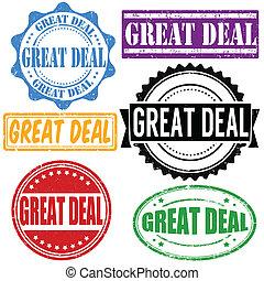 Great deal vintage grunge rubber stamps set on white, vector illustration
