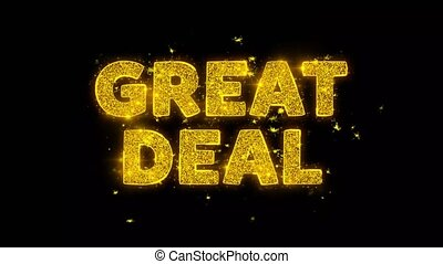 Great Deal Text Sparks Particles on Black Background. -...