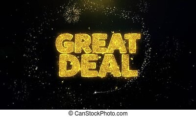 Great Deal Written Gold Particles Exploding Fireworks...