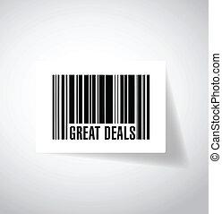 great deals barcode upc code illustration design