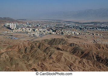 Great desert without loneliness, with construction of oases, Israel, Beer Sheva, Negev Desert.