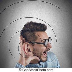 Great ear - Man has a great ear to listen better