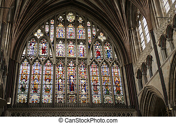 Great east window of Exeter Cathedral of early 14th century...