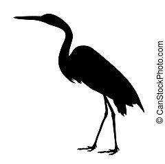 Great egret - Vector illustration of great egret silhouette