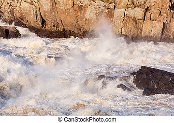 Great Falls on Potomac river outside Washington DC in flood after heavy rain