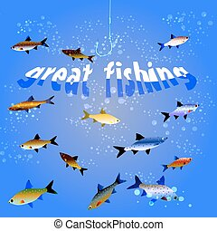 Great fishing - Illustration of fish in the sea and the text