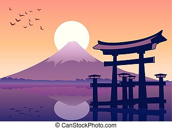 great floating gate and Fuji mount landmark of Japan at...