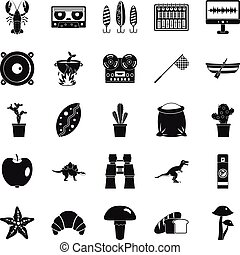 Great food icons set, simple style