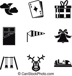 Great gift icons set, simple style