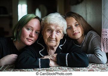 great-granddaughters., 2, 祖母, 家族, 女の子, 肖像画