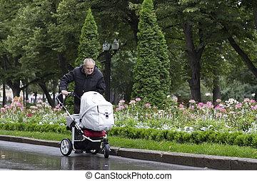 great-grandfather, andar, com, um, carrinho criança, ligado, um, gelado, dia chuvoso, em, um, bonito, parque