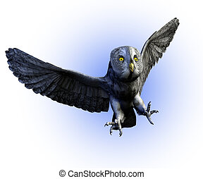 Great Gray Owl Flying - 3D render of a Great Gray Owl.