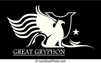 GREAT GRYPHON WHITE. white gryphon and shield.