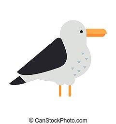 Great gull bird vector - Gull flight bird and seabird gull....