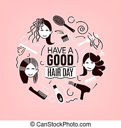 Great hair day - Have a great hair day. Square poster with...