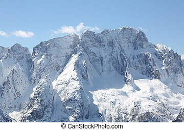 great high mountains with snow in winter