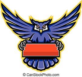 Great Horned Owl Banner Mascot