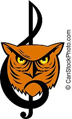 Great Horned Owl Head Musical Note
