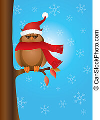 Great Horned Owl with Santa Hat on Tree - Brown Great Horned...