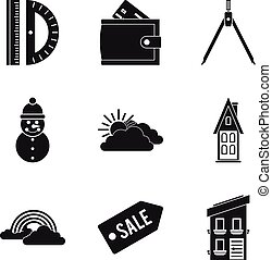 Great house icons set, simple style - Great house icons set....