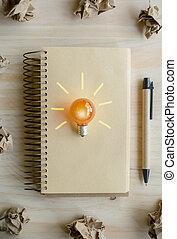 great ide, begreb, hos, crumpled avis, og, lys pære, på, træagtig tabel