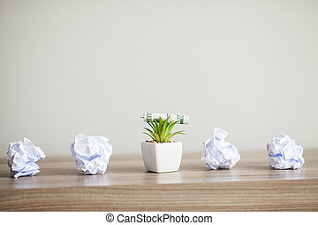 Great idea concept. Standing out of the crowd. Dollars photo