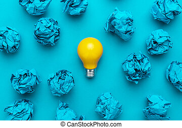 great idea concept with crumpled office paper and light bulb