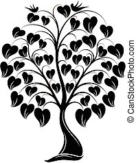 Ornaments Heart Tree with Bird - great illustration of...