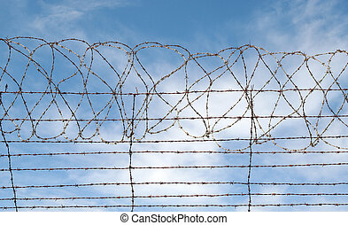 barbed wire jail or gaol fence - great image of a barbed...
