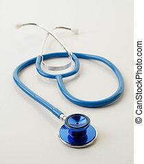 blue stethoscope on white