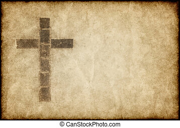 great image of a christian cross on parchment paper