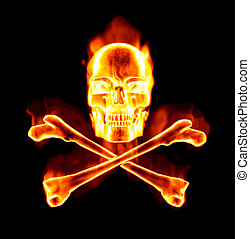 fiery skull and cross bones