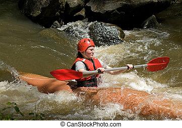girl white water kayaking - great image of a teenage girl...