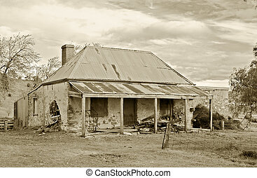 old farmhouse - great image of old farmhouse ruins in sepia