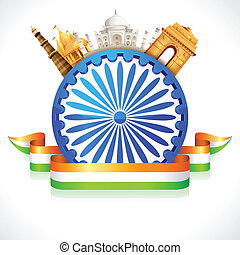 Great India - illustration of monument around Ashoka Wheel...