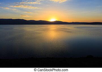 Great lake and sunset views. Kars, Turkey.