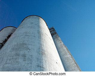 Great Lakes Grain Elevators. 15 - 20 stories high seven feet thick concrete silos